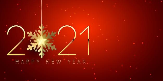 Banner di felice anno nuovo con design elegante con fiocco di neve dorato Vettore gratuito