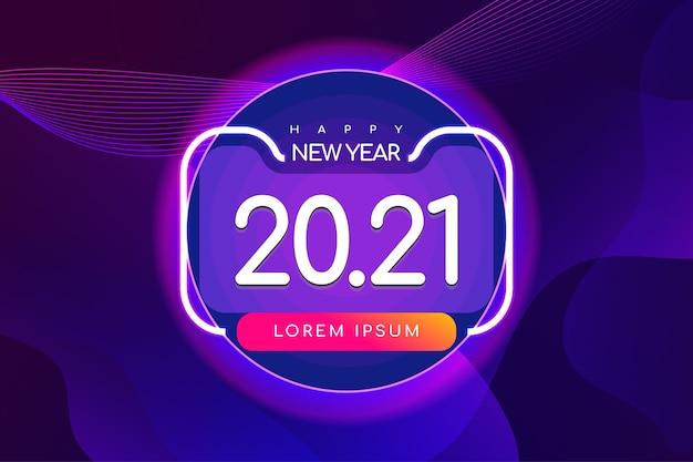 未来的な背景を持つ新年あけましておめでとうございますバナー Premiumベクター