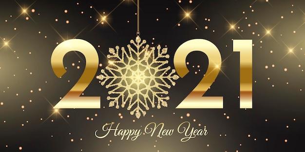 Felice anno nuovo banner con design scintillante fiocco di neve Vettore gratuito