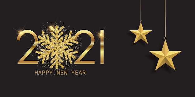 Felice anno nuovo banner con fiocco di neve scintillante e stelle appese design Vettore gratuito