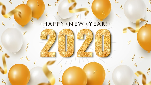 Happy new year banner with gold 2020 numbers on bright background with flying confetti and festive air balloons Premium Vector