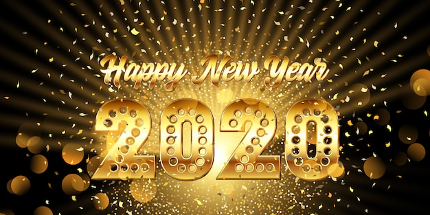 Happy new year banner with gold metallic text with confetti Free Vector