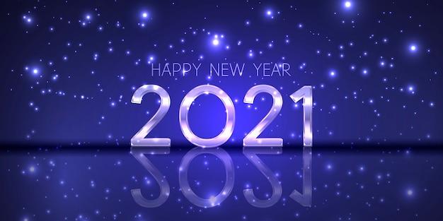 Banner di felice anno nuovo con un design moderno e scintillante Vettore gratuito