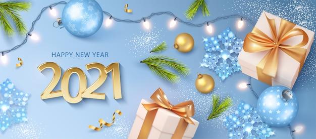 現実的な黄金の数字で新年あけましておめでとうございますバナー Premiumベクター