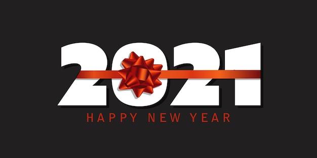 С новым годом баннер с дизайном красной лентой Бесплатные векторы