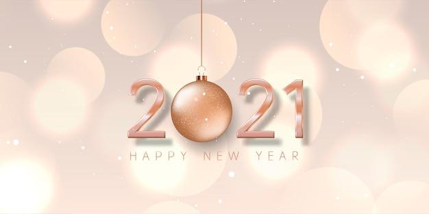 Felice anno nuovo banner con pallina in oro rosa, numeri e design di luci bokeh Vettore gratuito