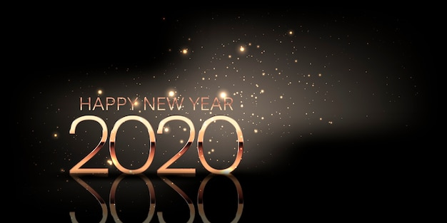 С новым годом баннер с блестящим дизайном и металлическими золотыми цифрами Premium векторы