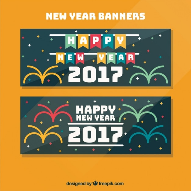 Happy new year banners in flat design