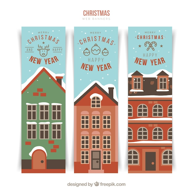 Happy new year banners with house facades