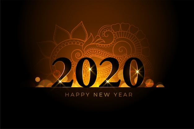 Happy new year beautiful golden background Free Vector
