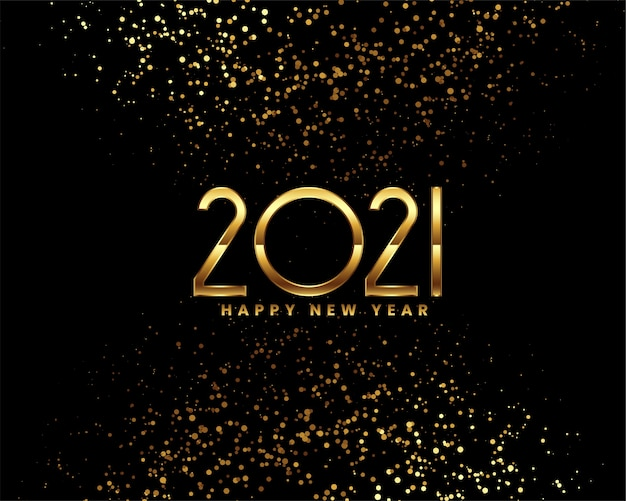 Happy new year black and gold greeting card Free Vector