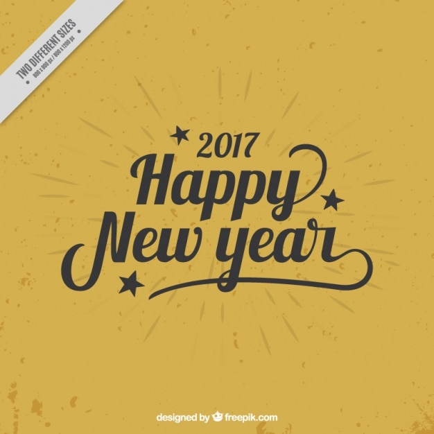 Happy new year, black letters on a golden\ background
