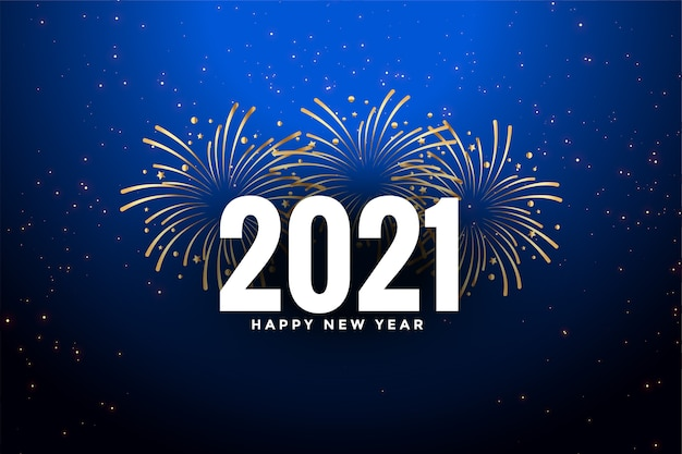 Happy new year  blue background with fireworks Free Vector