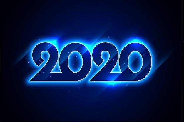 新年あけましておめでとうございます青いネオン2020年グリーティングカードデザイン 無料ベクター