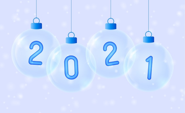 Happy new year. blue number in glass bauble. Premium Vector