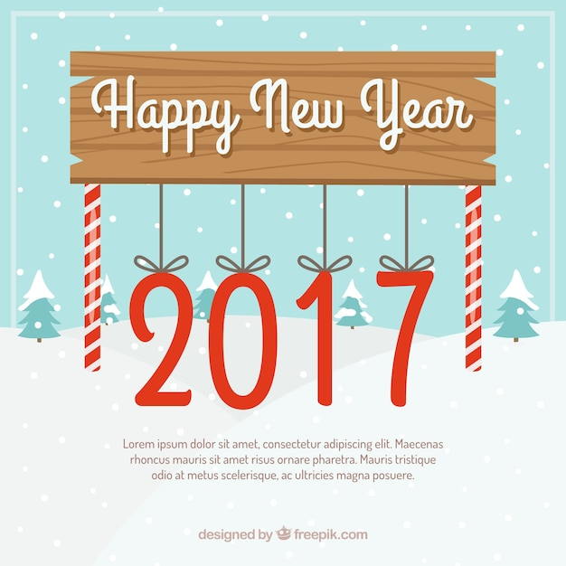 Happy new year board with hanging candy canes Free Vector