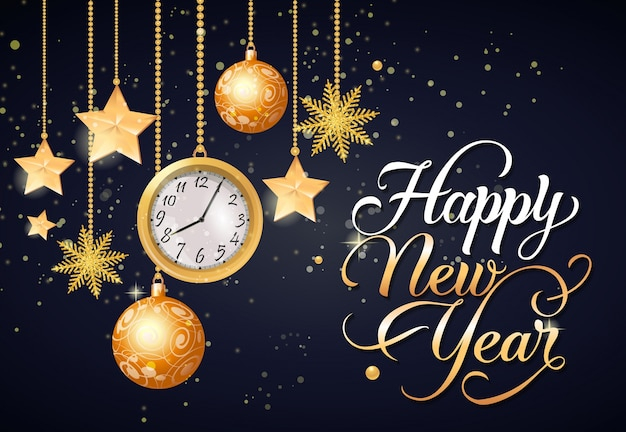Happy new year calligraphic lettering Free Vector