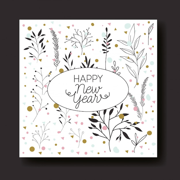 Happy new year calligraphy card with leafs crown Free Vector