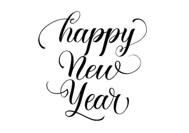 Happy new year calligraphy vector free download
