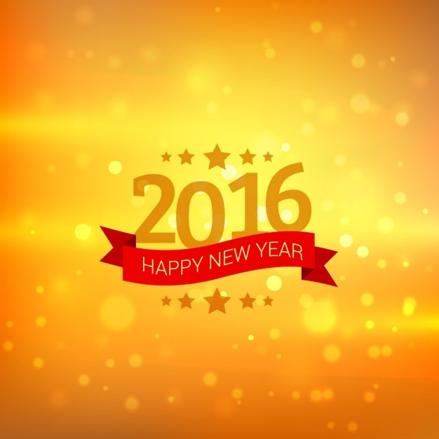 happy new year card in golden bokeh background vector free download