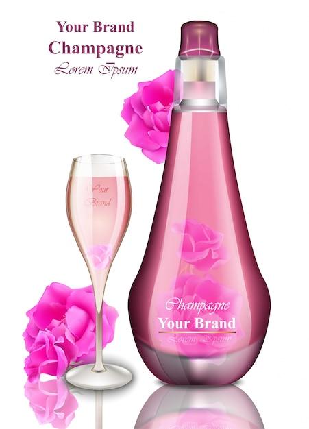 ハッピーニューイヤーカード。ピンクのシャンパンイラスト Premiumベクター
