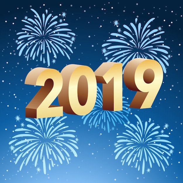 happy new year card template free vector