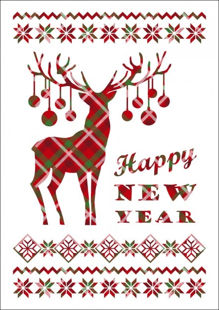 happy new year card with checkered reindeer vector free download