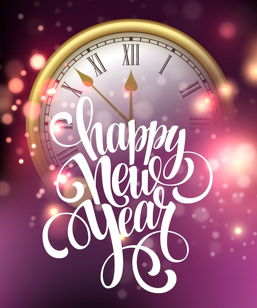Happy new year card with clock. Premium Vector