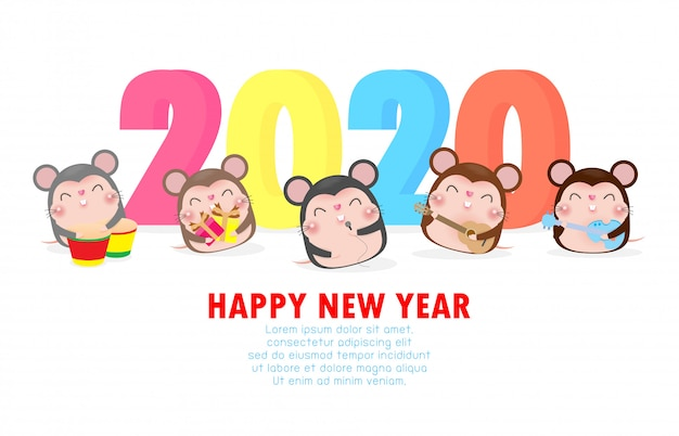 Happy new year card with cute little mouse play musical ...
