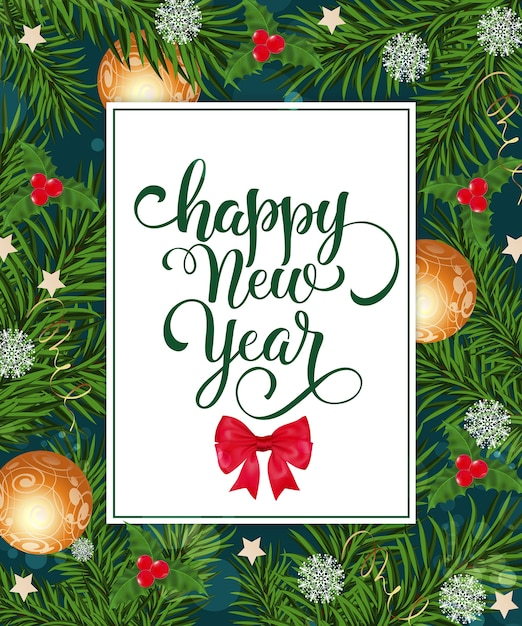 happy new year card with decorations free vector