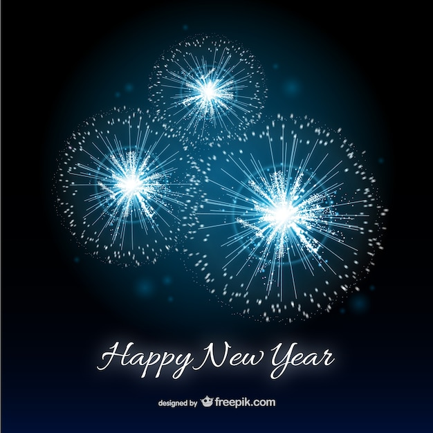 Happy New Year card with fireworks Vector | Free Download