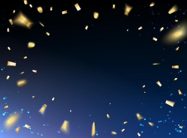 С новым годом карта с золотым конфетти на черном фоне. Бесплатные векторы