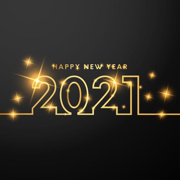 Felice anno nuovo card con numeri d'oro Vettore gratuito