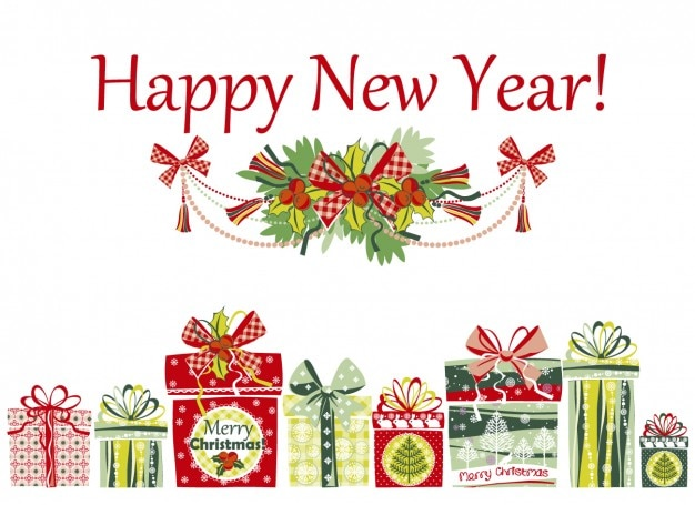 happy new year card with presents free vector