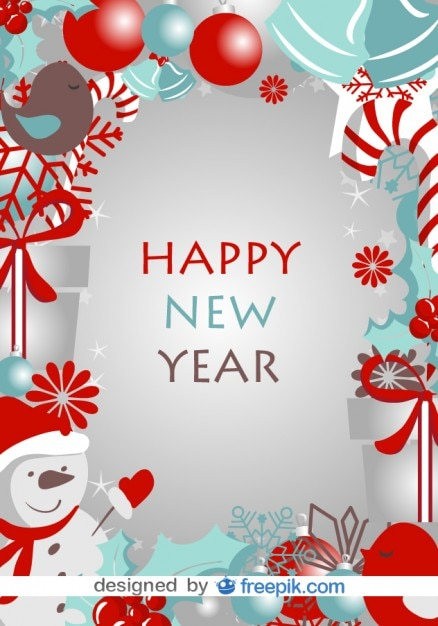 Happy New Year Card with Winter Symbols Vector | Free Download