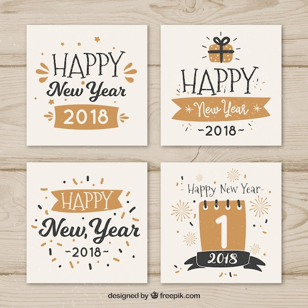 Happy new year cards with nice fonts Vector | Free Download