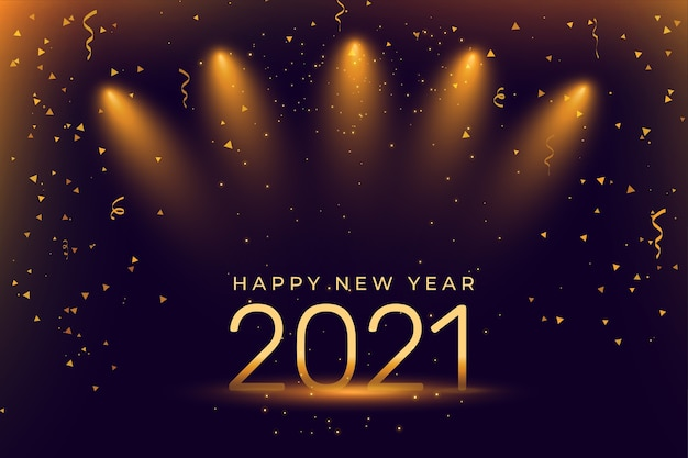 Happy new year celebration background with spot lights Free Vector