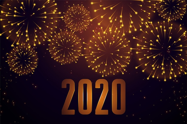 Happy new year celebration firework 2020 Free Vector