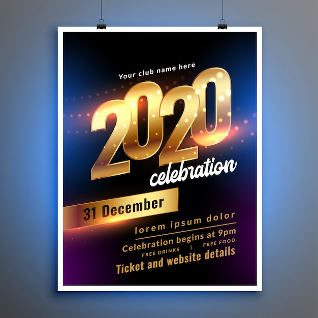 Happy new year celebration party flyer or poster template Free Vector
