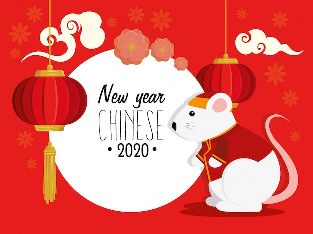 Happy new year chinese 2020 with rat and decoration Vector ...