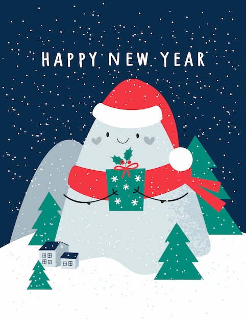 Happy new year, christmas festive holiday card with cute mountains, christmas trees. houses on background with snowflakes Premium Vector