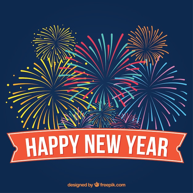 happy new year colored fireworks background in vintage style free vector