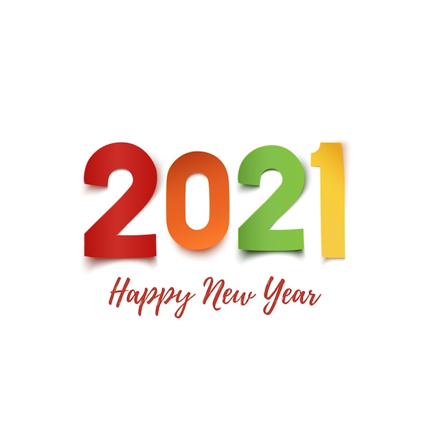 새해 복 많이 받으세요. 흰색 바탕에 다채로운 종이 추상적 인 디자인. 프리미엄 벡터