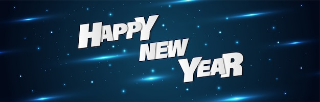 Happy new year concept banner background with metal letters and shining. Premium Vector