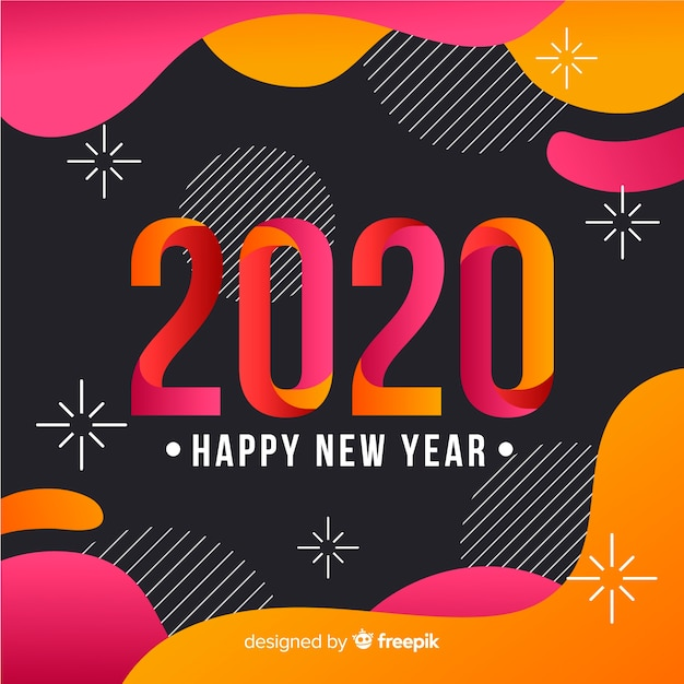 Happy new year concept in flat design Free Vector