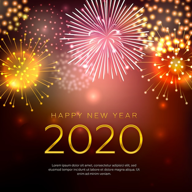 Happy new year concept with fireworks Free Vector