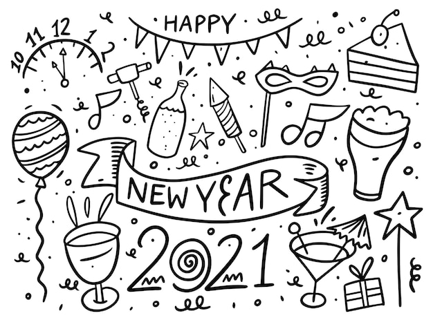 Happy new year doodle elements set. black ink.  isolated on white background. Premium Vector