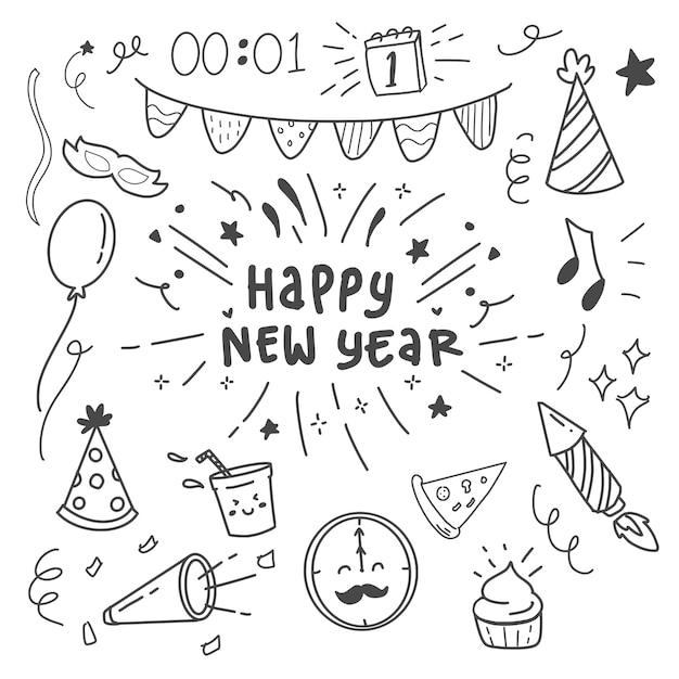 Happy new year doodle set collection icon item Premium Vector