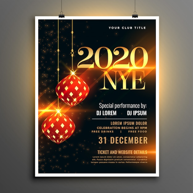Happy new year event party invitation flyer template Free Vector