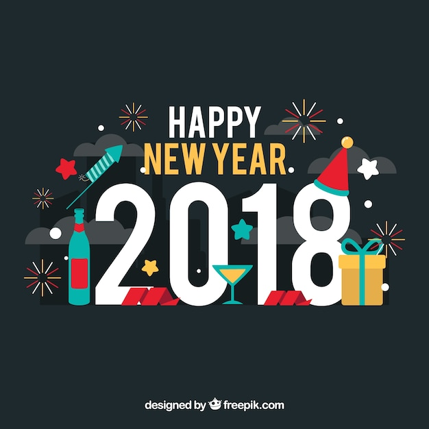 Happy new year flat background with party\ elements